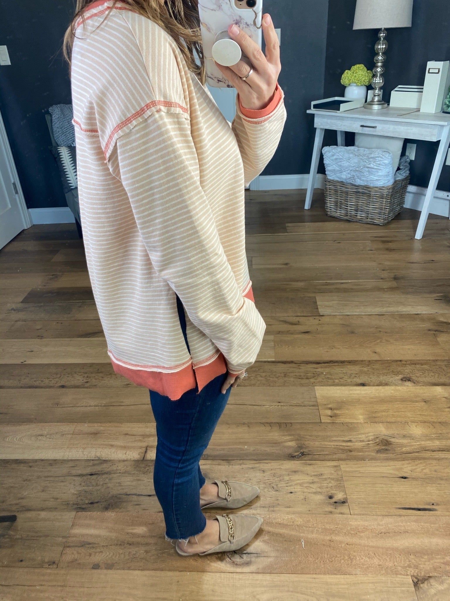 Keep My Word Peach Striped Long Sleeve with Faux Double Layer and High Split Raw Hem