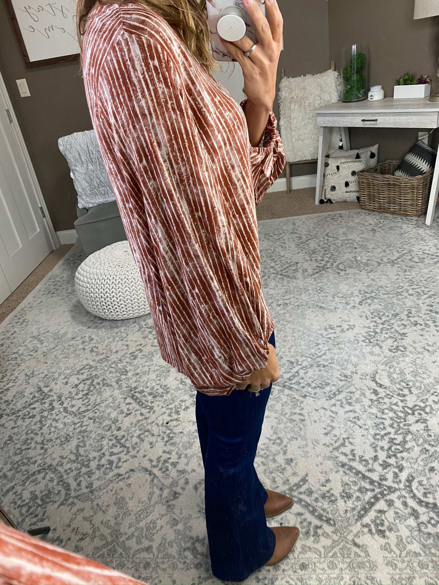 Whatever You Like Patterned Scoop Neck Blouse with Balloon Sleeve- Multiple Options