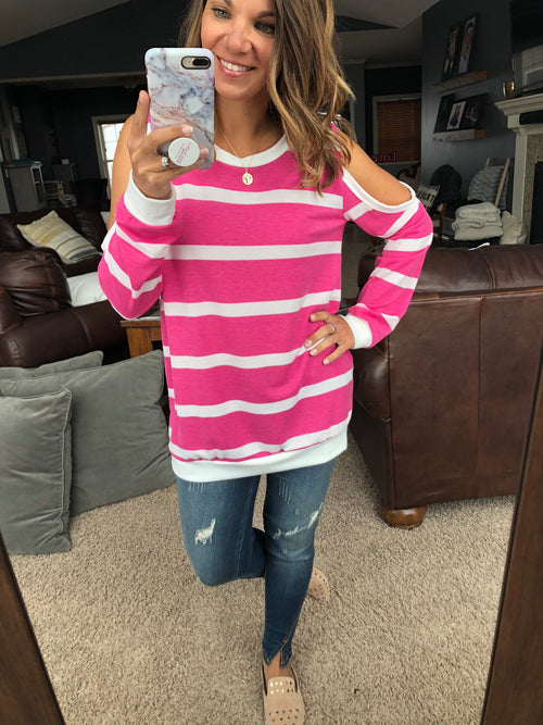 Our Darling Chaos Open Shoulder Long Sleeve - Pink