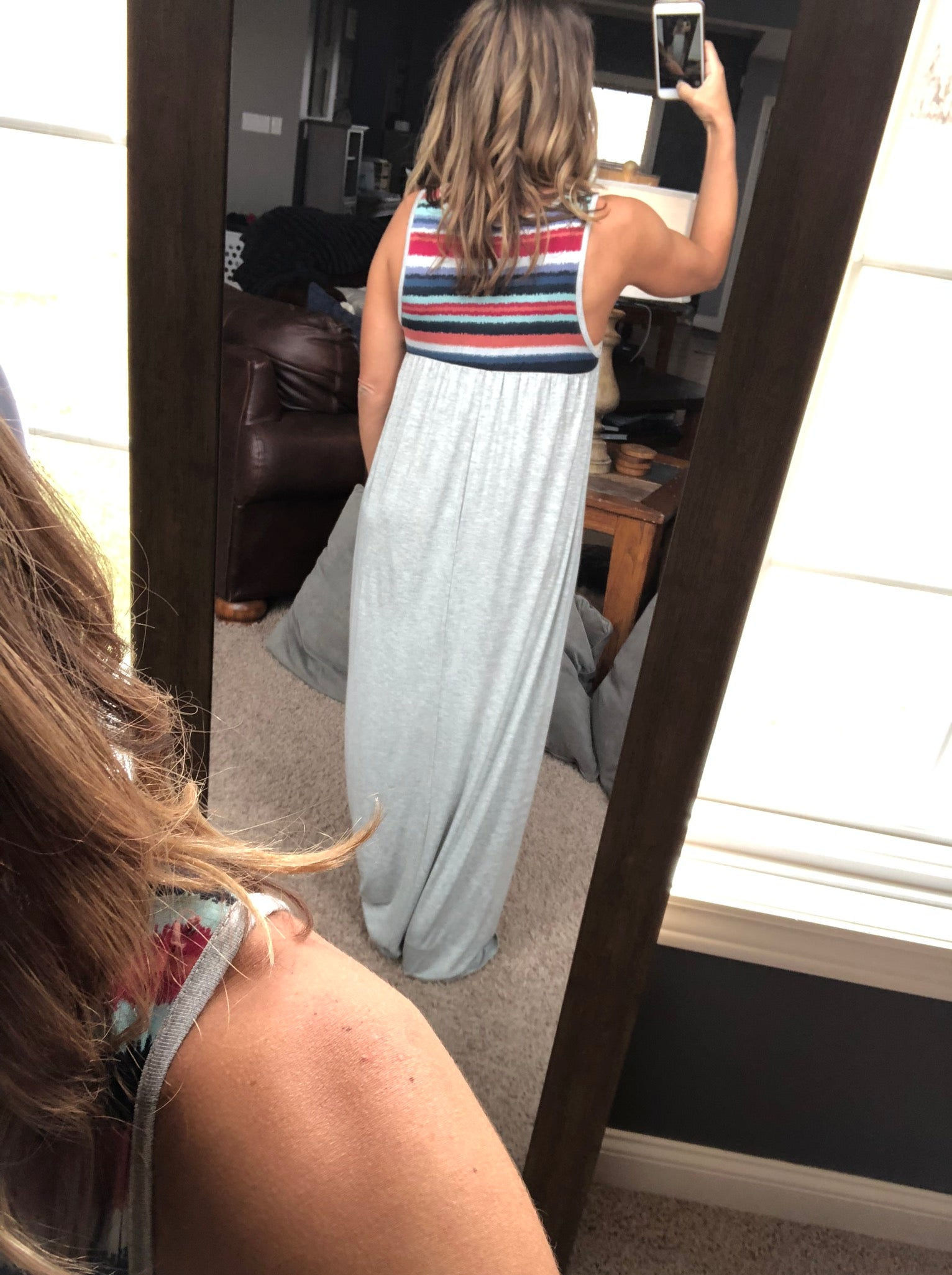 Soaking In The Sunset Tie Dye Grey Maxi Dress