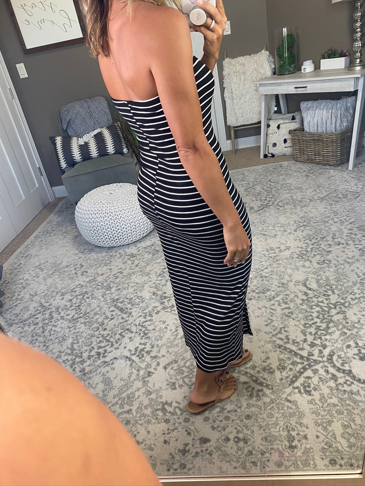 Say The Name Black and Ivory Striped Ribbed Strapless Bodycon Midi Dress
