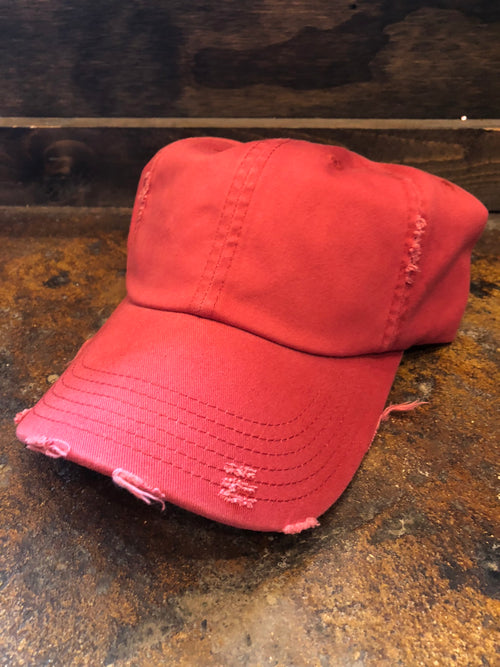 On The Run Basic Distressed Baseball Hat- Red