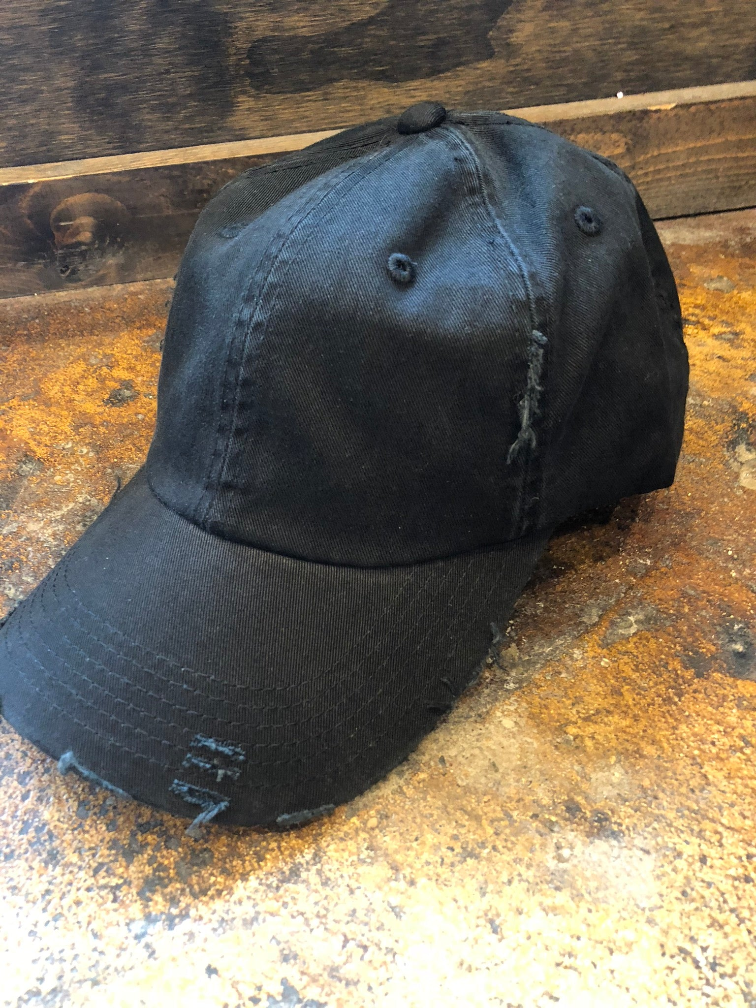 On The Run Basic Distressed Baseball Hat- Black