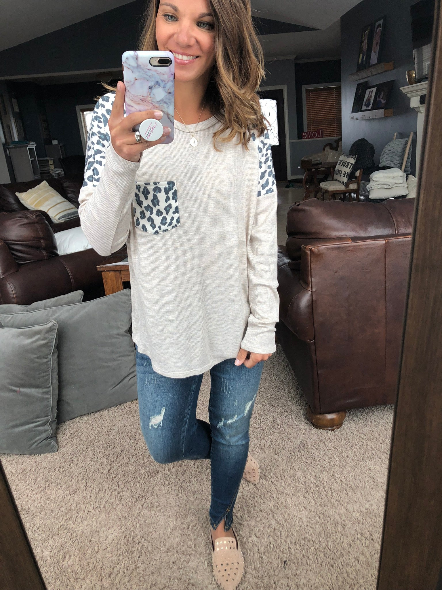 Keeping It Casual Leopard and Cream Waffle Long Sleeve