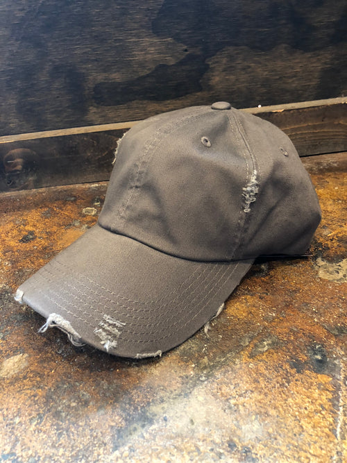 On The Run Basic Distressed Baseball Hat- Charcoal