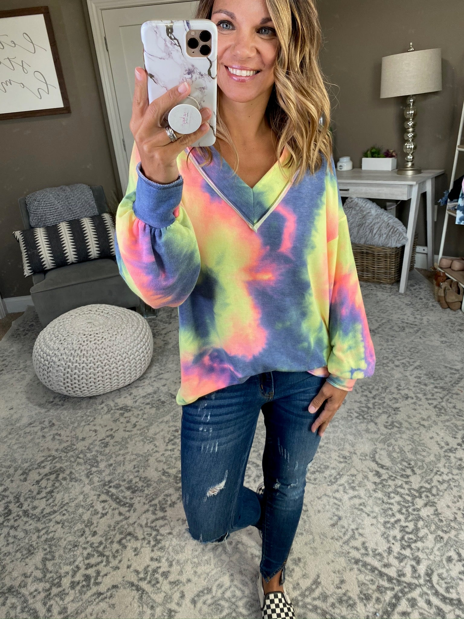 Not Losing You V-Neck Tie Dye Long Sleeve