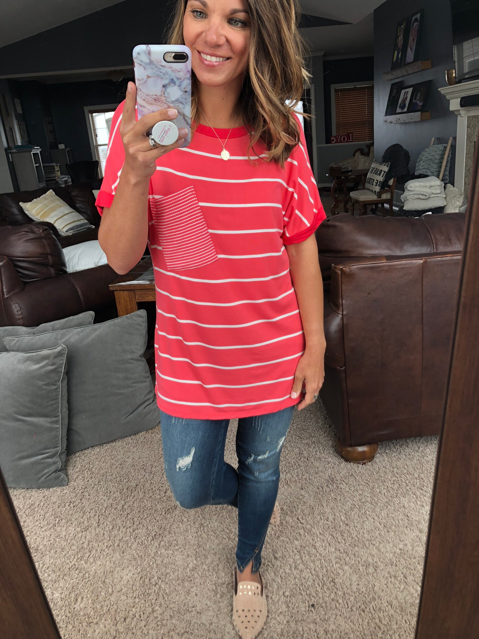 All The Feels Coral Stripe Pocket Tee