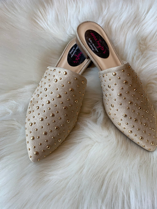 Elite Status Nude Mules with gold details