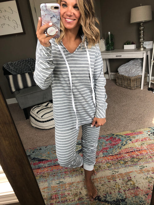 Good For A Lifetime Grey/Ivory Striped Sweatshirt