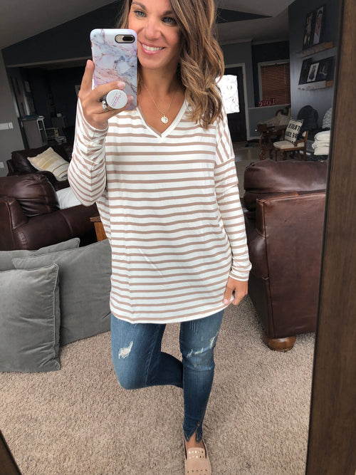 Don't Think Ivory Long Sleeve w/ Cocoa Stripe