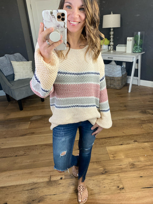 All About You Cream Boatneck Sweater with Rose, Navy, and Steel Grey Stripes