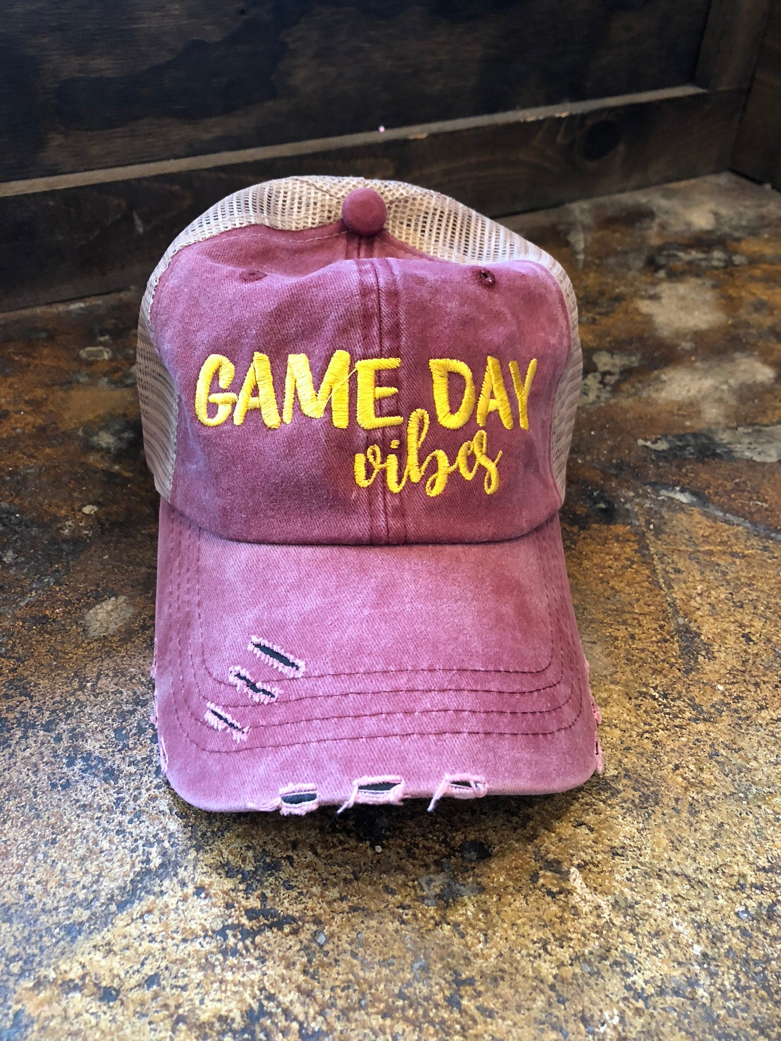 Game Day Vibes Baseball Hat -Red