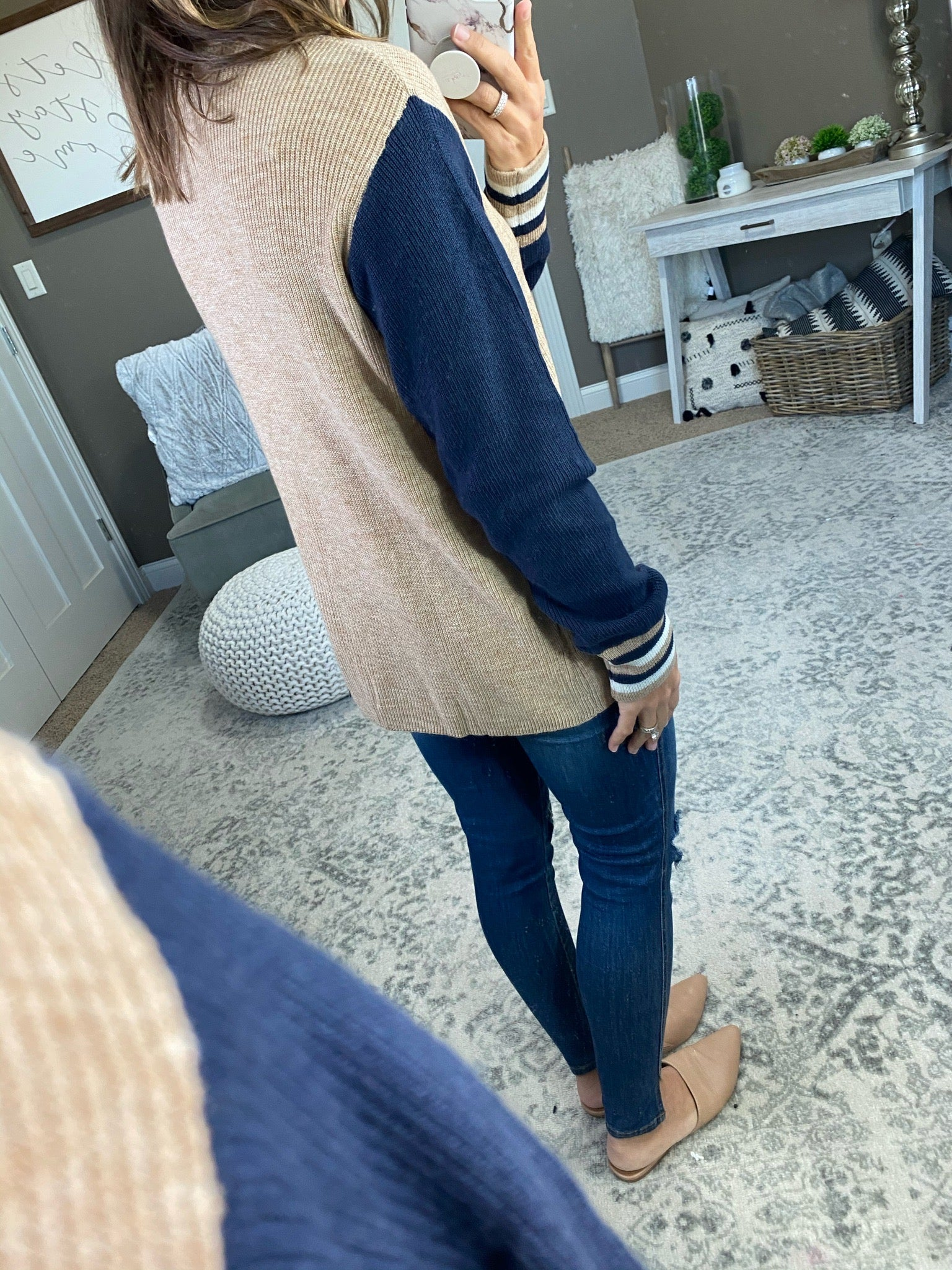 Happy Ever After Ribbed Oatmeal Crew Sweater with Navy Sleeves & Cuff Details