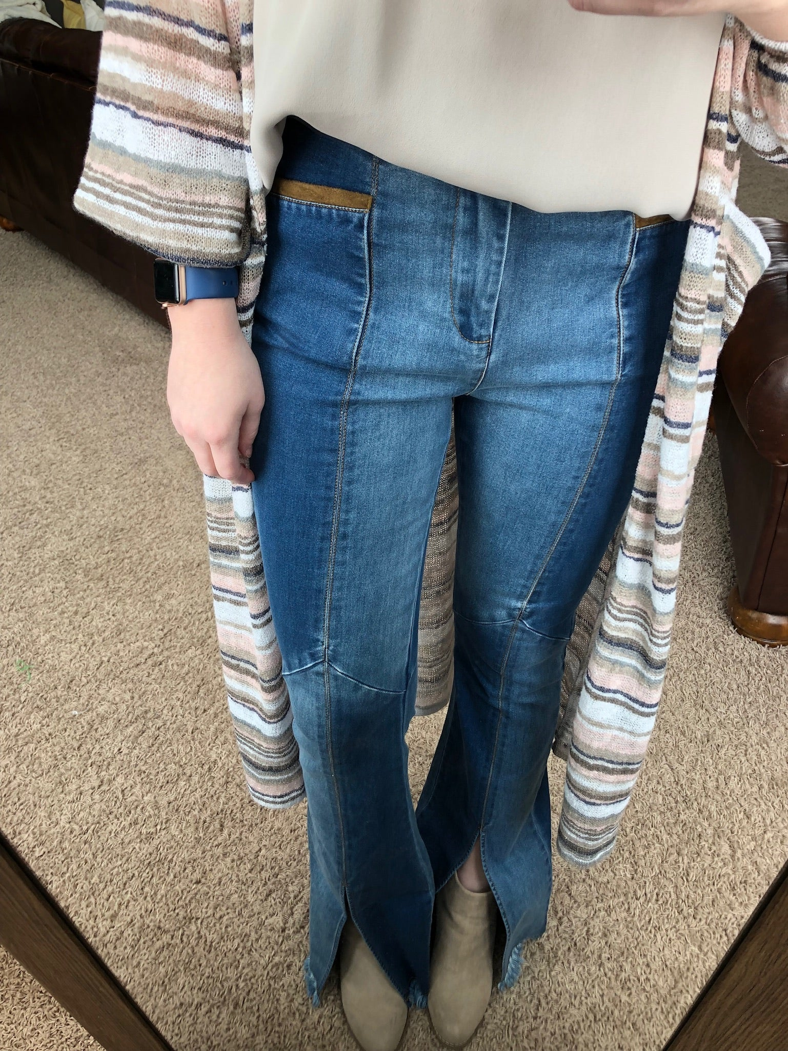 Two-Toned Throwback Denim Jean Flares