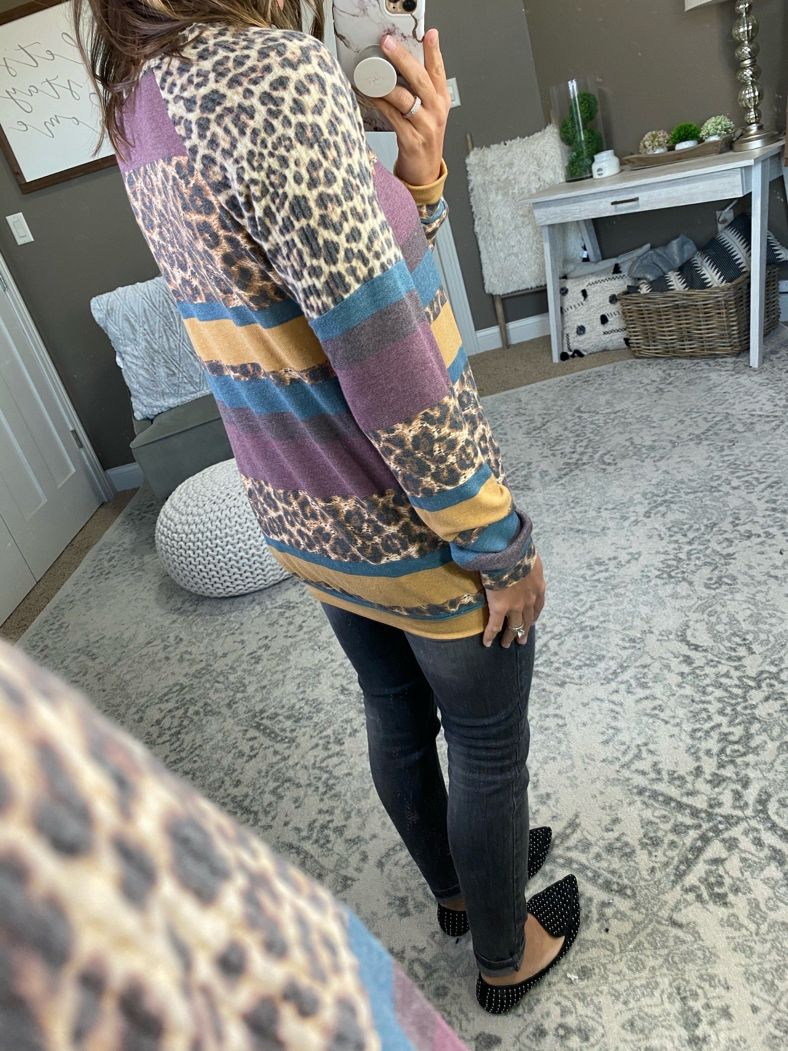 Getting Good Leopard and Stripe Mix Long Sleeve with Brushed Fleece Waffle Shoulders