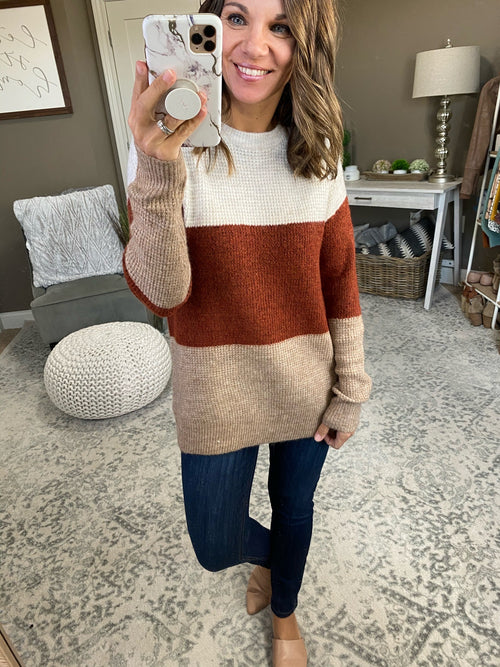 Big Plans Cream, Rust & Oatmeal Colorblock Crew Sweater