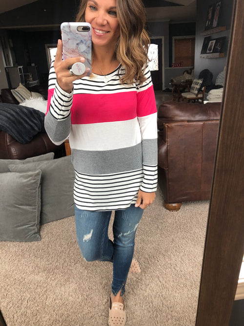 Show Stopper Black and White Color Block Long Sleeve - Berry