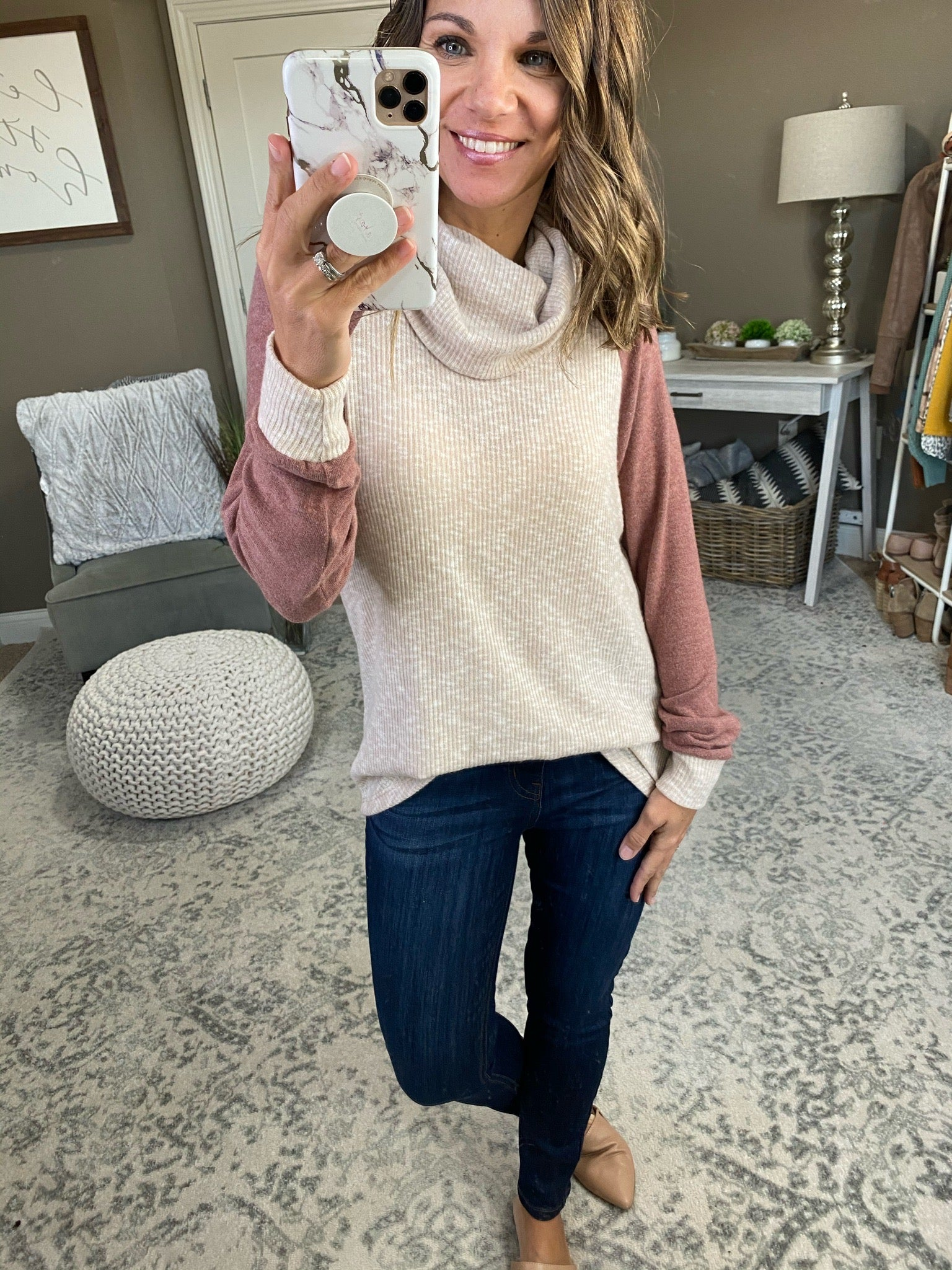 Perfect Strangers Ribbed Oatmeal Cowl Neck with Mauve Sleeves
