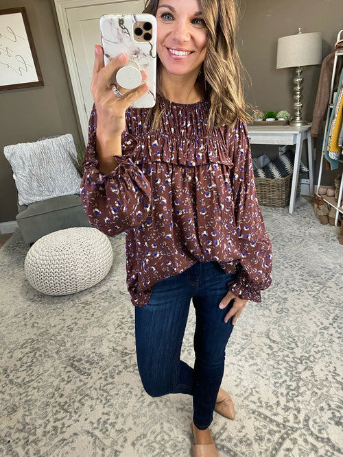 More To The Story Pecan Floral Boho Blouse with Ruffle Detail