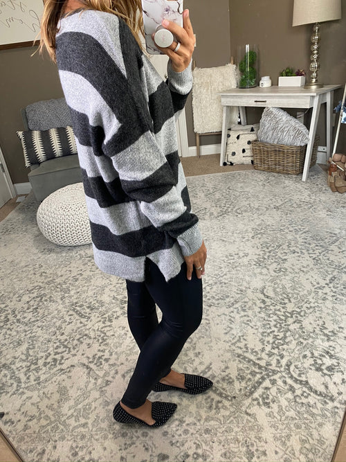 Look Ahead Stripe V-Neck Sweater- Multiple Options