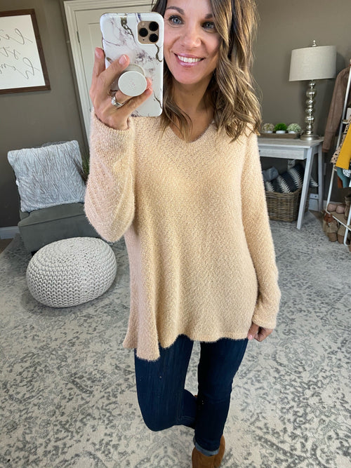 Wish You'd Miss Me Eggnog Eyelash Vneck Sweater