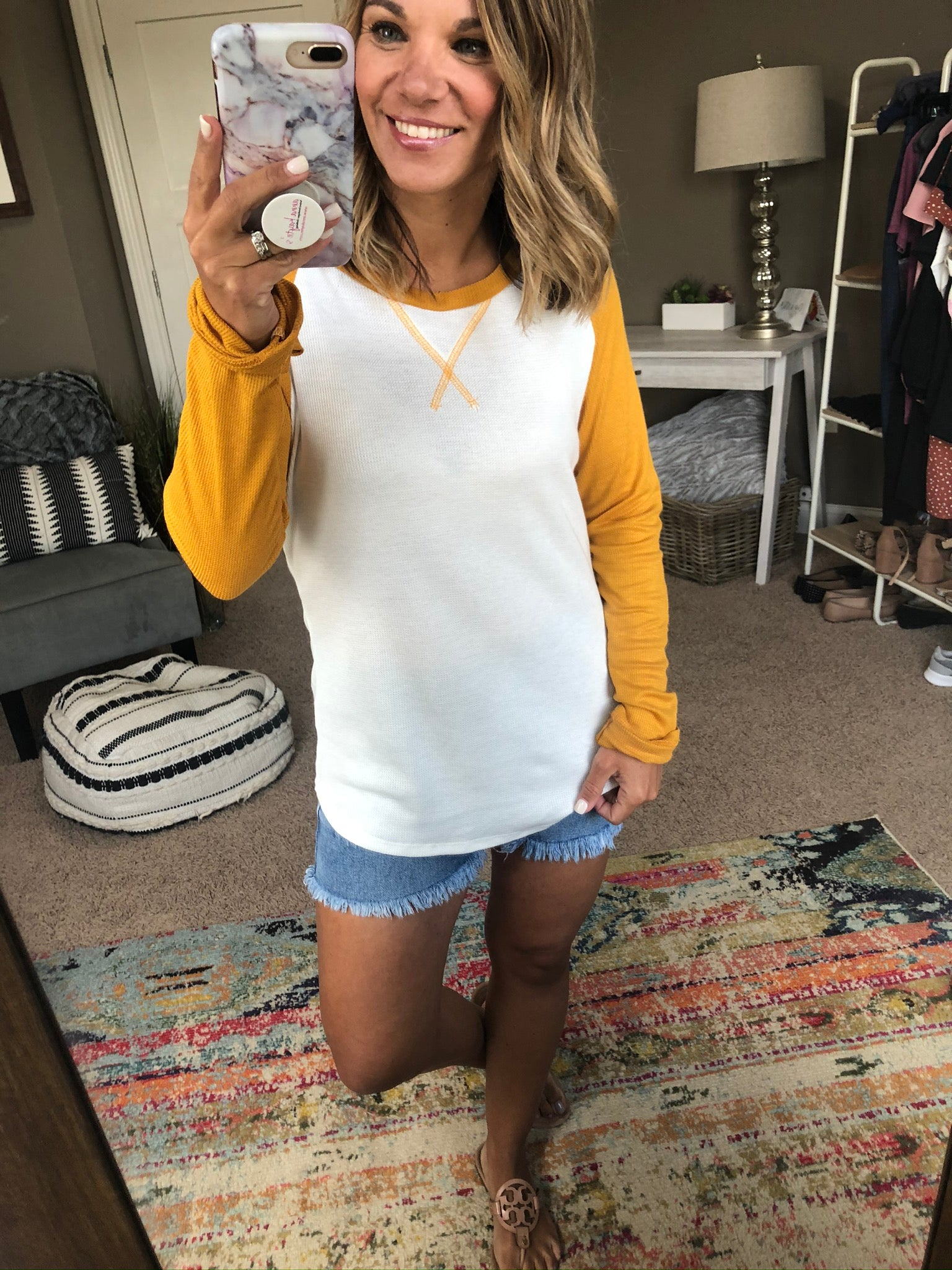 Count On Me Waffle Long Sleeve - Mustard & Ivory