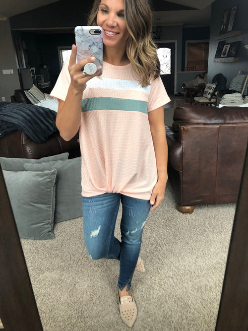 Here For Summer Pink Twist Front Tee