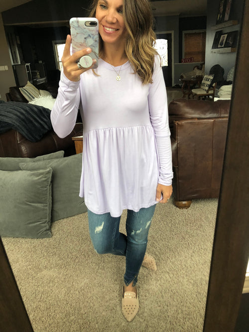 Stuck On You Long Sleeve Peplum Top- Lavender