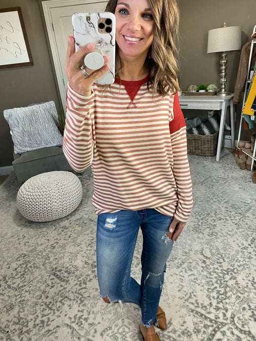Tell Me Who Striped Long Sleeve With Contrasting Sleeve and Neckline- Multiple Options