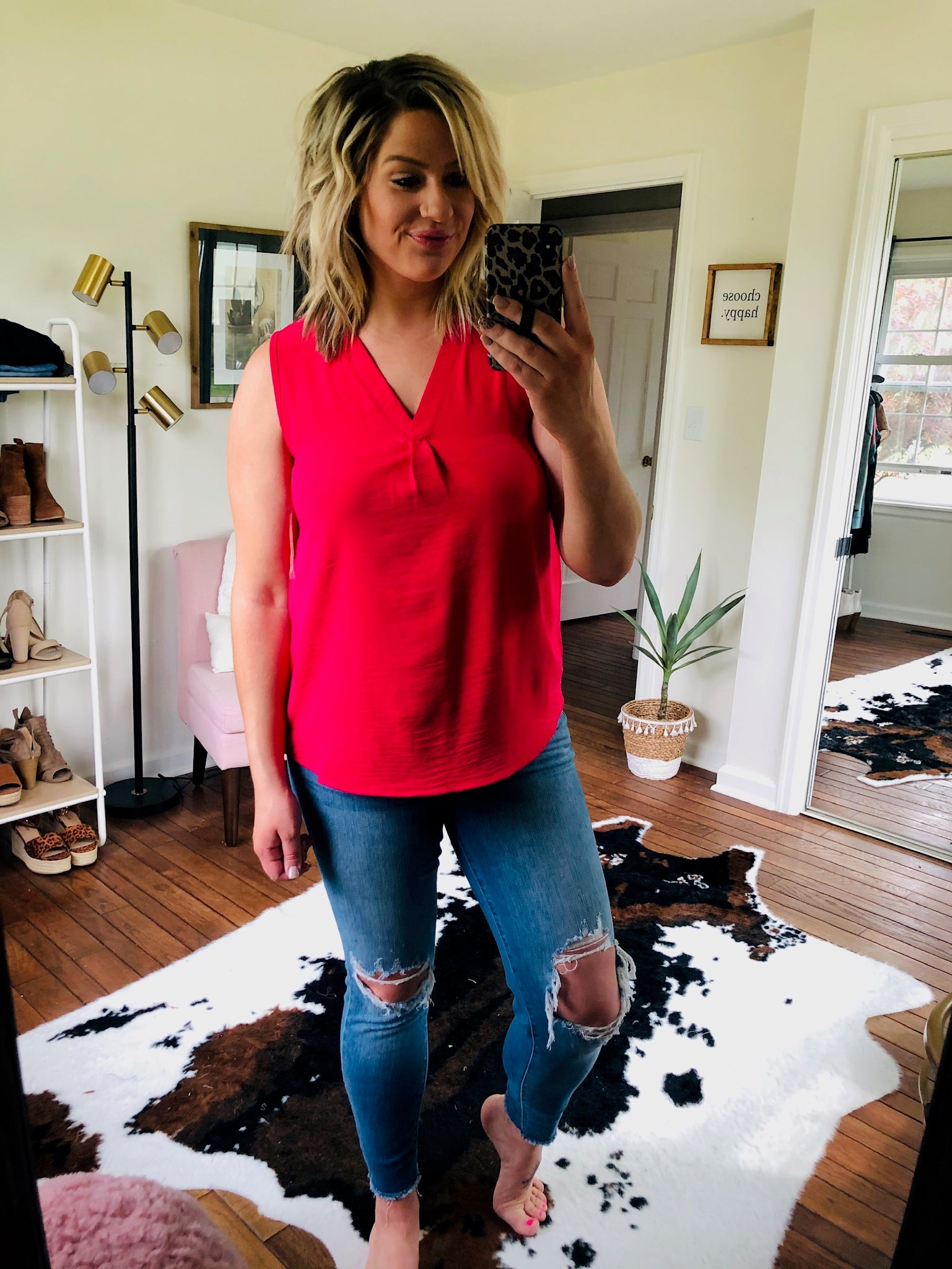 Better Days Ahead V Neck Sleeveless Blouse- Hot Pink