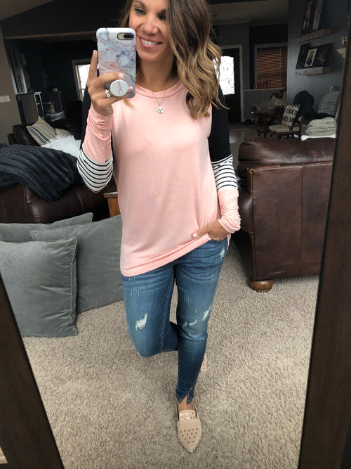 My Favorite Song Colorblock Long Sleeve- Pink