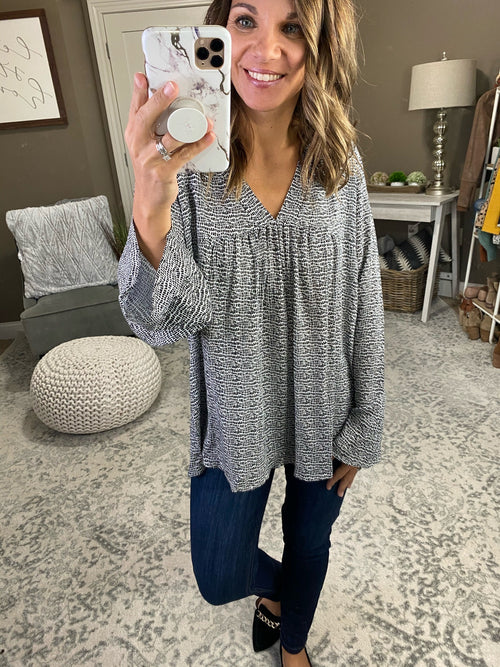 Give You Everything Black and Ivory Patterned V-Neck Blouse