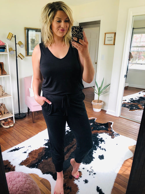 Jump Right in Black Tank Jumpsuit with Elastic Waistband