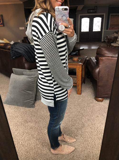 Keep It Cool Black & White Striped Hoodie