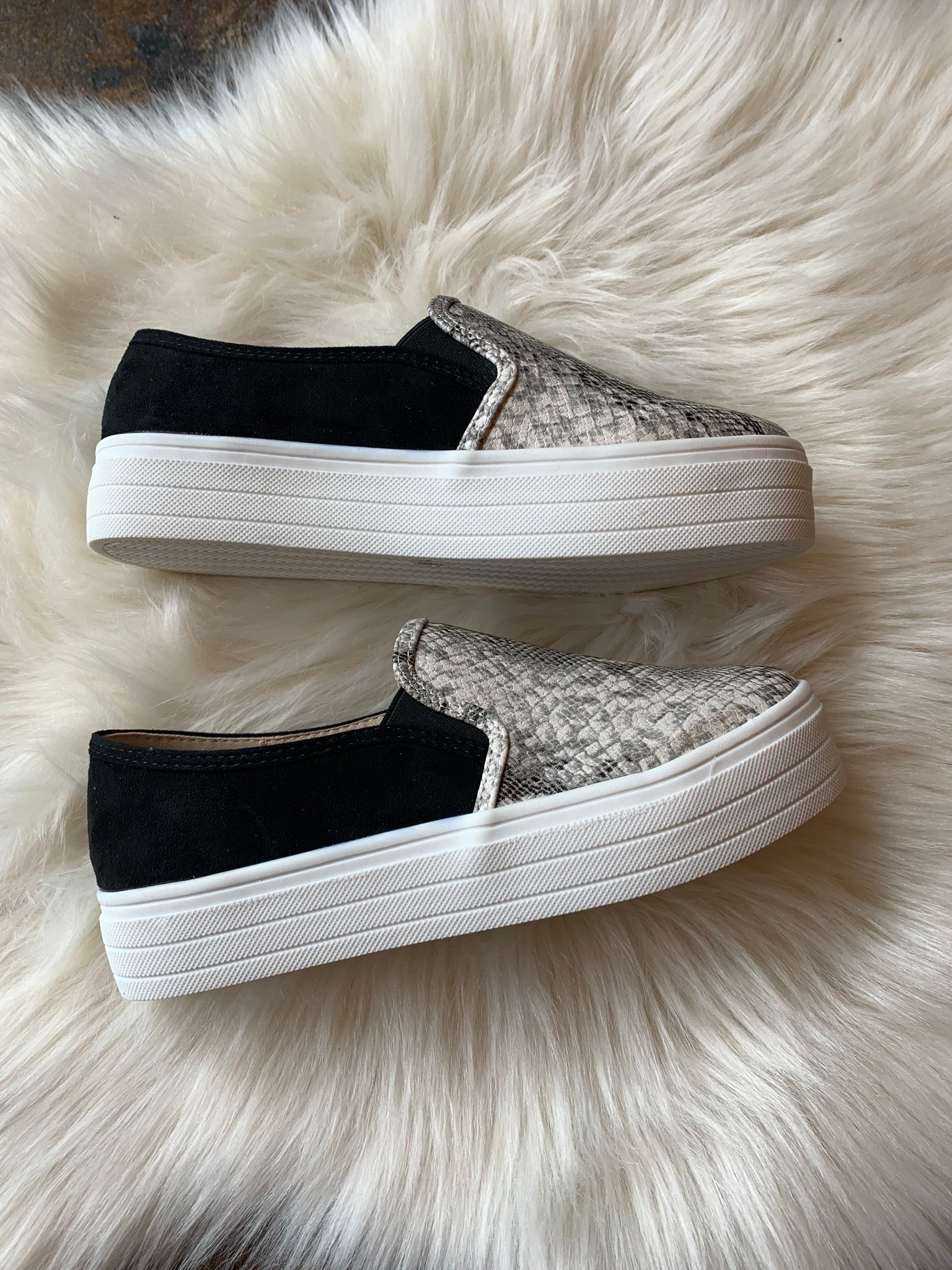 Free To Roam Platform Slip Ons - Snake Skin Shoes