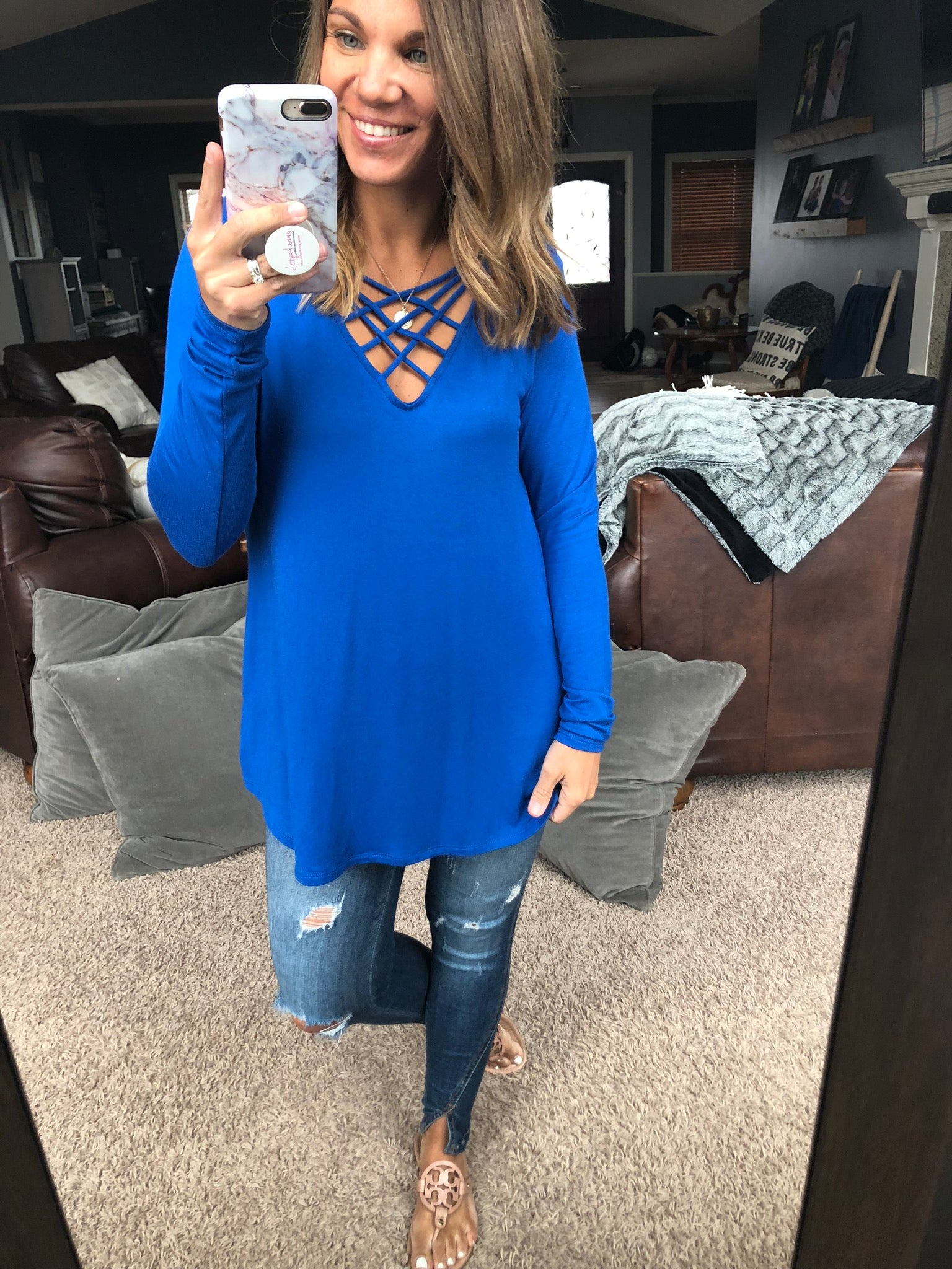 Cover Your Bases Criss Cross Long Sleeve Top - Blue