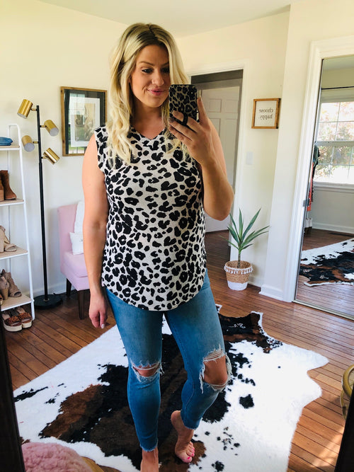 Bring Me Love Cream and Black Knit Leopard V-Neck Tank