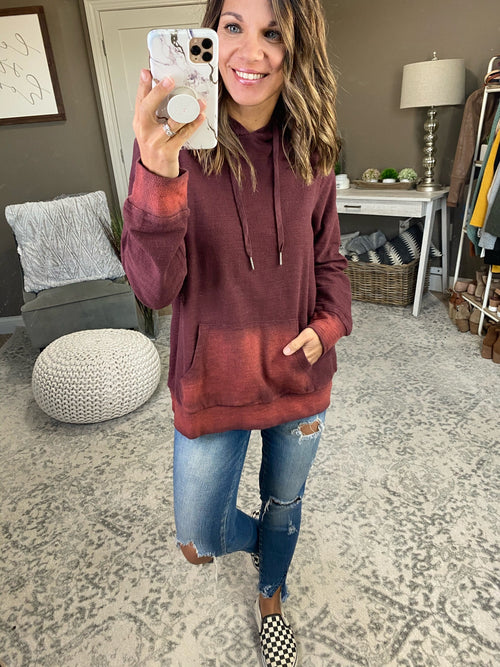 Scared To Say Goodbye Burgundy Fade Textured Hoodie