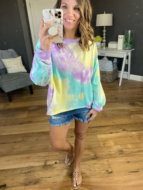 Happy Hour Blue and Lavender Tie Dye Crew Textured Long Sleeve with Raw Hem