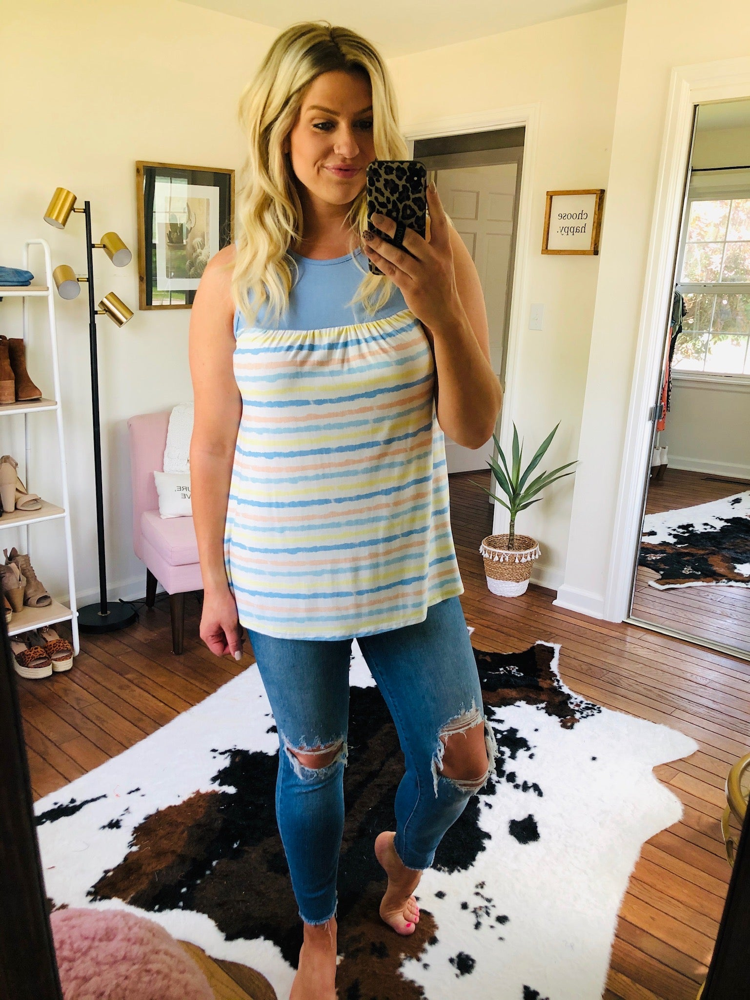Little Bit Of Love Blue, Yellow and Peach Mixed Stripe Tank
