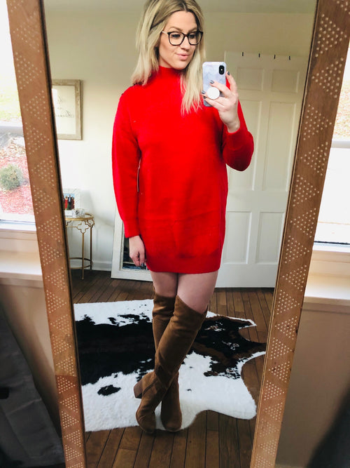 Meet Me Under the Mistletoe Red Tunic Sweater with Mock Neck and Button Detail