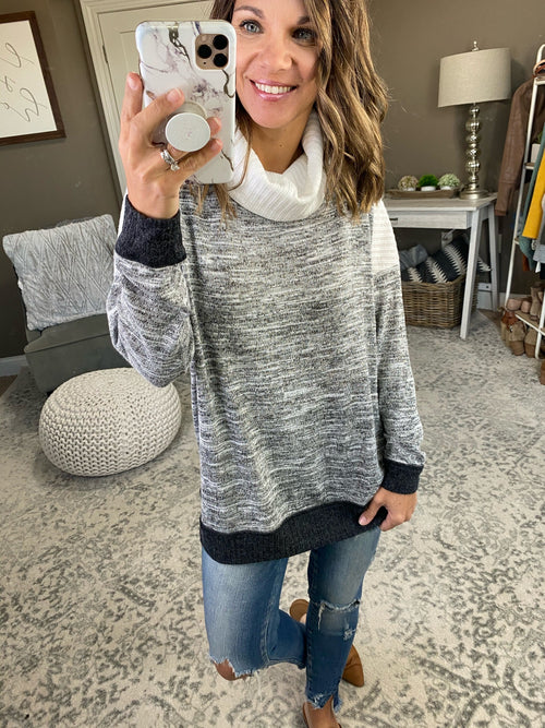 Leaving Again Heathered Grey Long Sleeve with Ribbed Ivory Cowl Neck