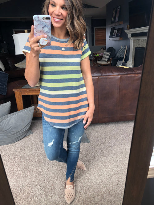 Beyond Belief Orange and Green Stripe Tee