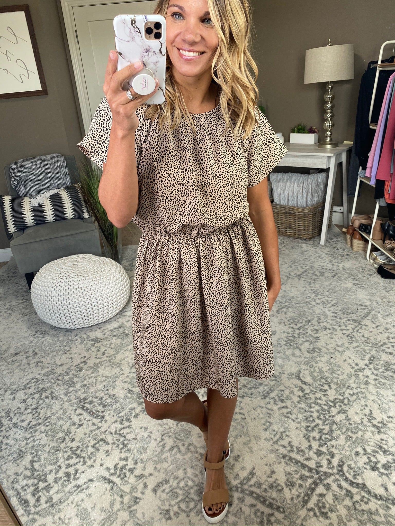 Spin Me On The Dance Floor Beige Tee Dress with Elastic Waist