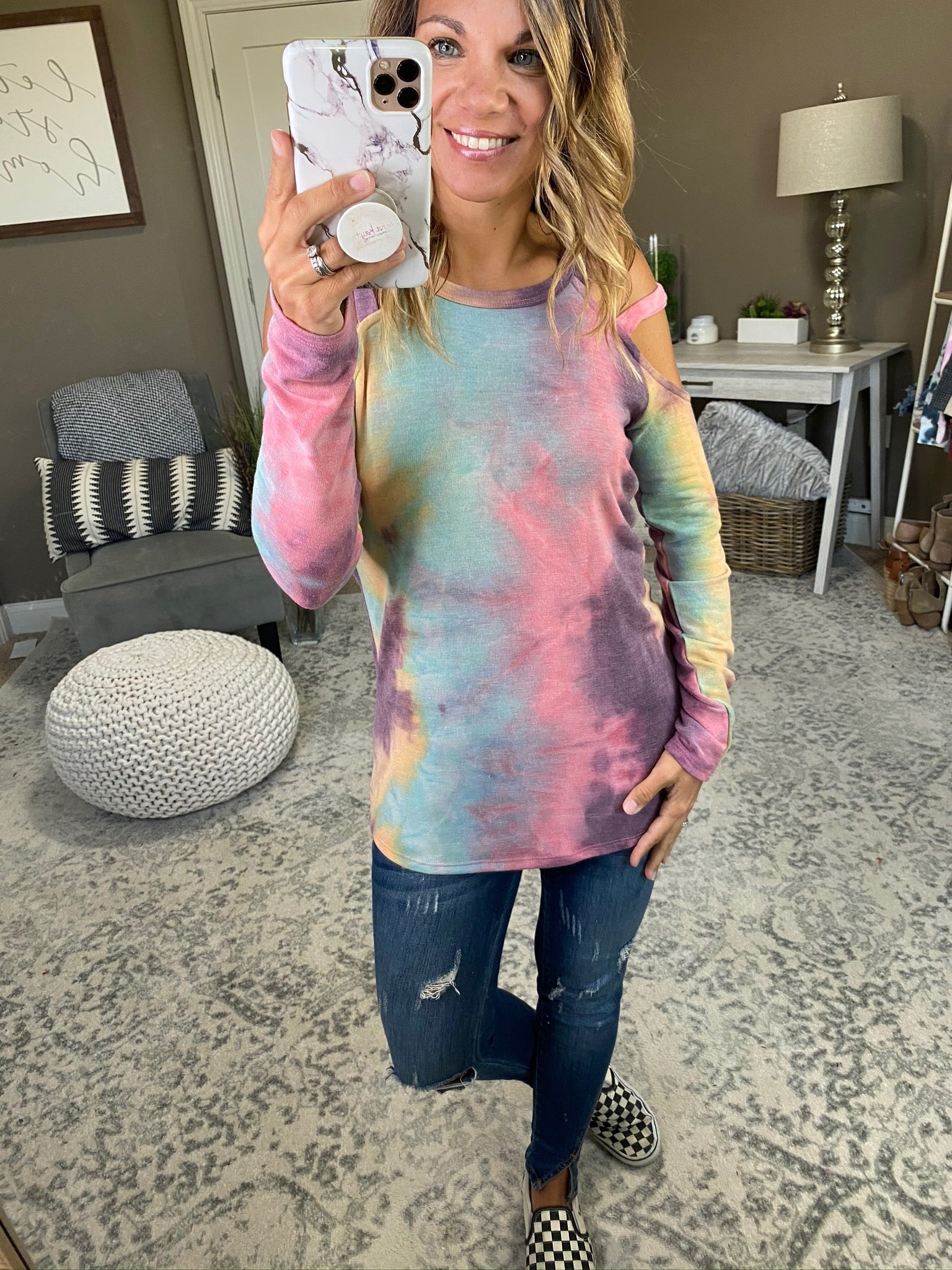 Hippie Heart Purple Mix Tie Dye Long Sleeve with Cold Shoulder