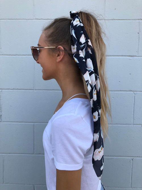 Leaves Me Speechless Navy Print Hair Scarf & Scrunchie