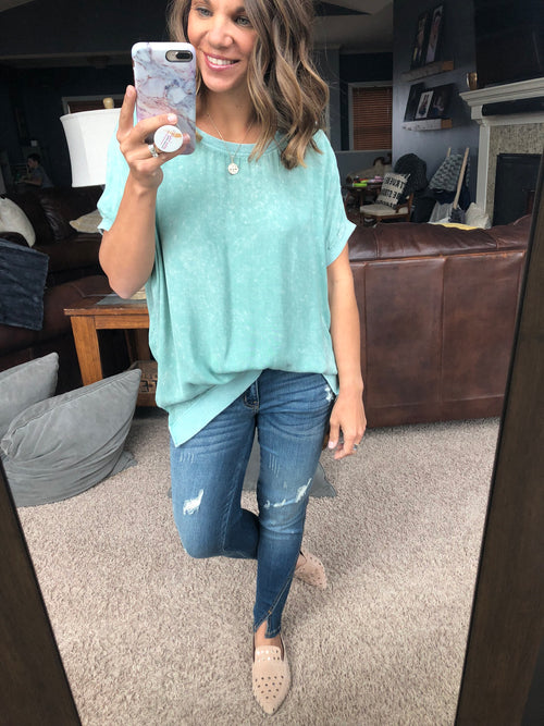 One Day At A Time Sea Foam Green Oversized Tee