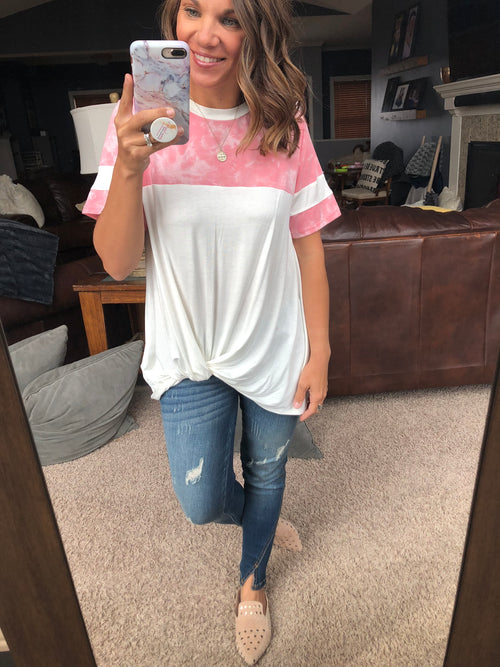 Just My Style Tie Dye Front Twist Tee- Pink