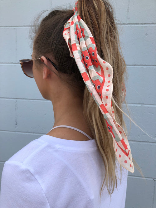 So Lovely Geometric Orange & Cream Print Hair Scarf