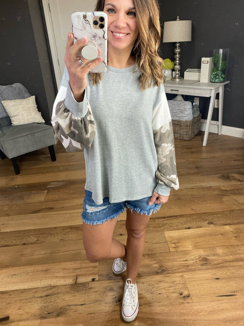 Better Than Before Grey with Camo & White Colorblock Balloon Long Sleeves